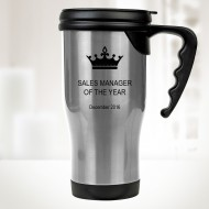 14 oz. Silver Stainless Steel Travel Mug with Handle