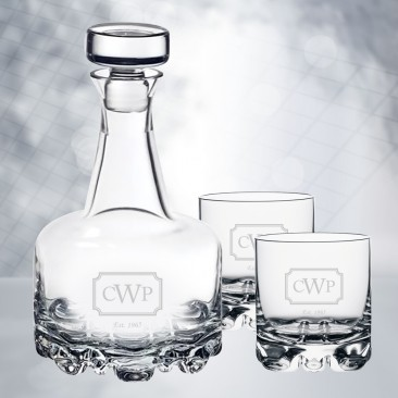 Orrefors Erik Decanter & DOF Whiskey Glass 3pc Set