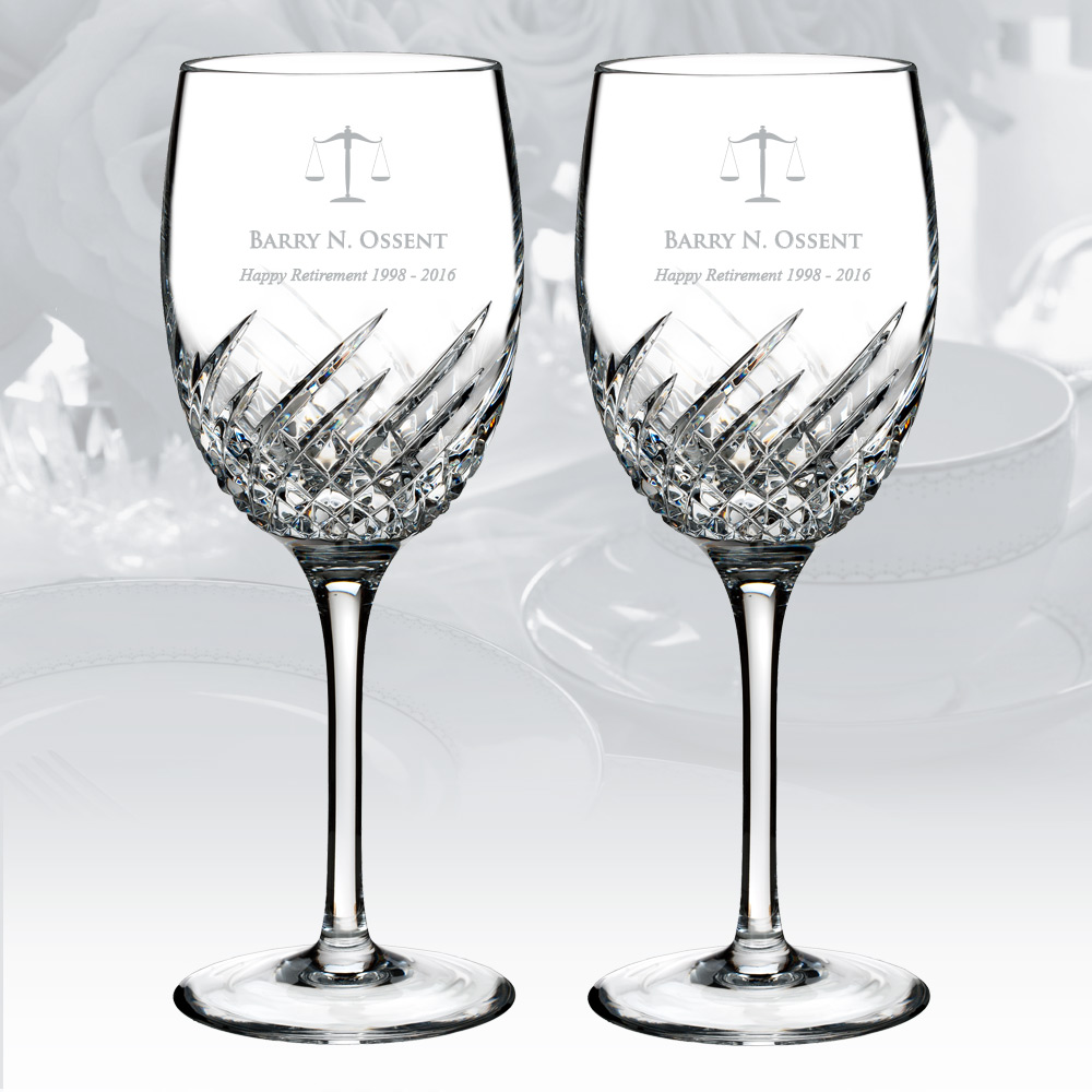 Personalized Waterford Essentially Wave Wine Glass 9oz, Pair