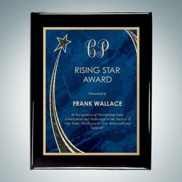 Blue Rising Star Plate on Gloss Horiz./Verti. Blackwood Plaque