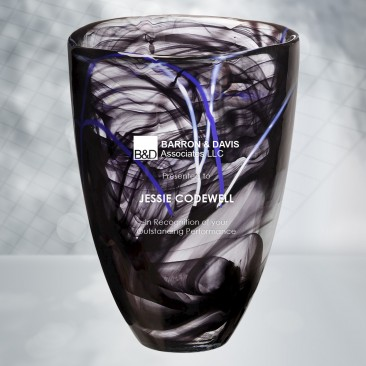 Kosta Boda Black/Purple Contrast Vase