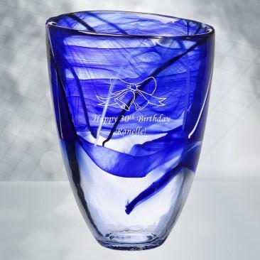 Kosta Boda Blue Contrast Vase