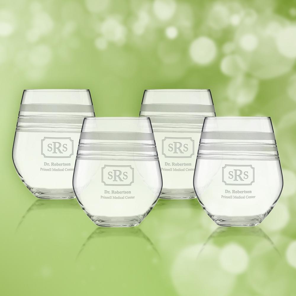 Personalize   Stripe   Glass   White   Wine   Set