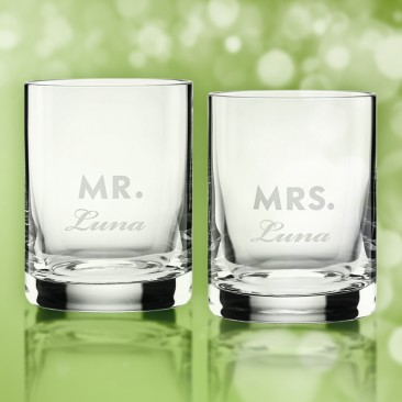 Kate Spade Darling Point Mr & Mrs DOF Whiskey Glass Pair, 12oz