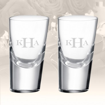 Monogrammed Rogaska Heritage 90 Degrees Shot Glass, Pair