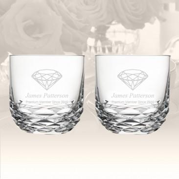 Rogaska Reflection DOF Whiskey Glass, Pair