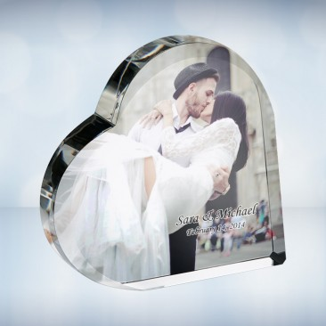 UV Color Imprinted Crystal Heart Photo Keepsake