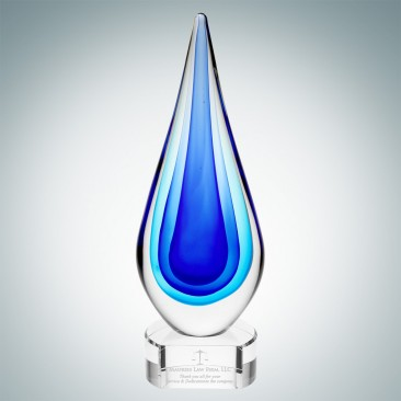 Art Glass Blue Teardrop Award