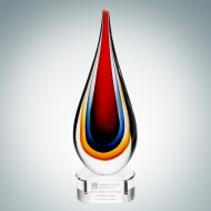 Art Glass Red Teardrop Award