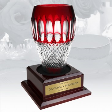 Waterford Limited Edition Colleen 60th Anniversary Ruby Vase w/ Personalized Wood Base