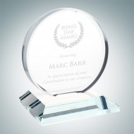 Clear Glass Beveled Circle with Base Award