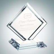 Clear Glass Square Diamond with Base Award
