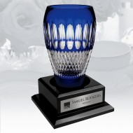 Waterford Limited Edition Colleen 60th Anniversary Cobalt Vase w/ Personalized Wood Base