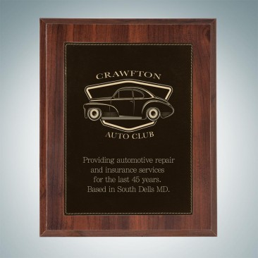 High Gloss Cherrywood Plaque - Black/Gold Leather Plate