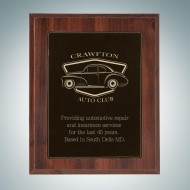 High Gloss Cherrywood Horizontal/Vertical Plaque - Black/Gold Leather Plate