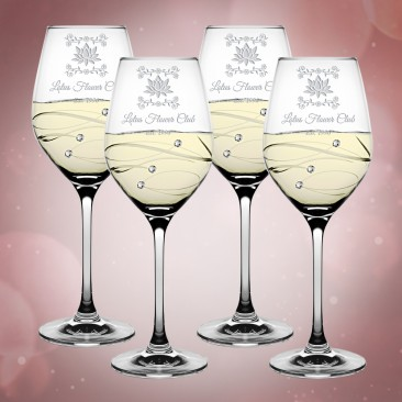 Barski Sparkle White Wine Glass 12.5oz, 4pc Set