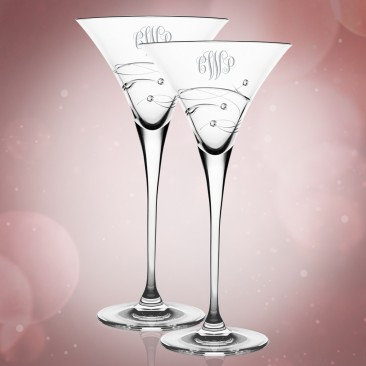 Barski Sparkle Martini Glass Pair,  8.25oz