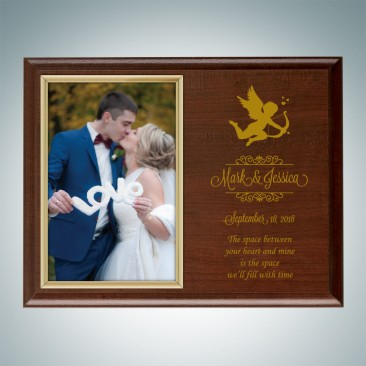 Genuine Cherrywood Finish Horizontal Photo Frame Plaque