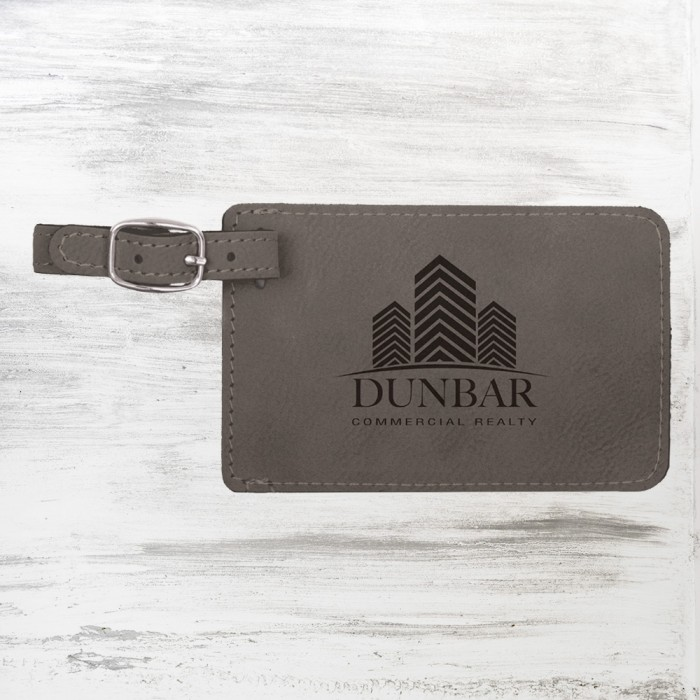 Gray Leatherette Luggage Tag