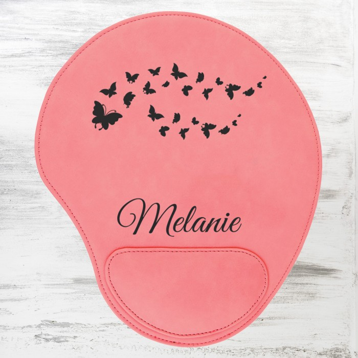 Pink Leatherette Mouse Pad