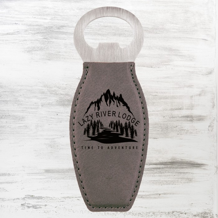 Gray Leatherette Bottle Opener w
