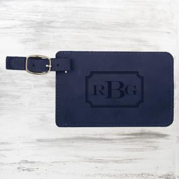 Blue Leatherette Luggage Tag