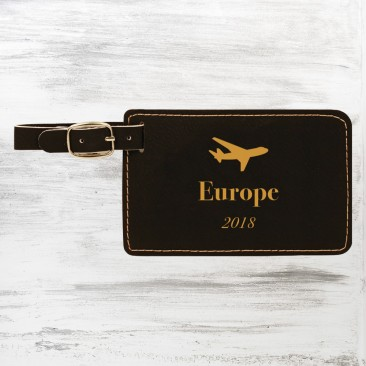 Black/Gold Leatherette Luggage Tag