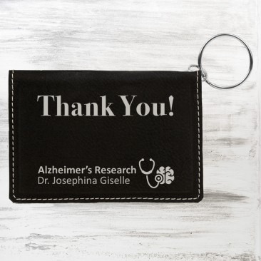 Black/Silver Leatherette Keychain ID Holder