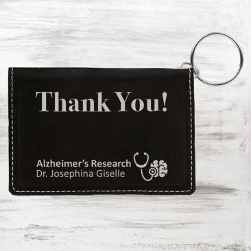 Black/Silver Leatherette Keychain ID Holder