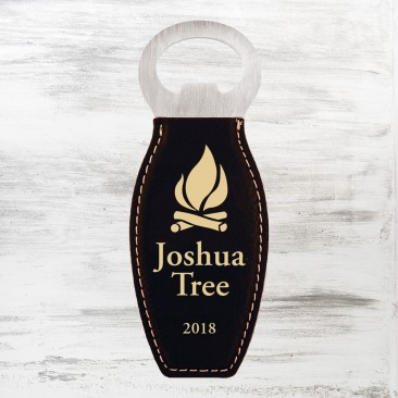 Black/Gold Leatherette Bottle Opener with Magnet