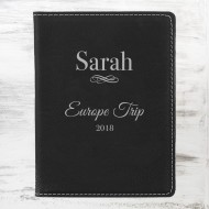 Black/Silver Leatherette Passport Holder