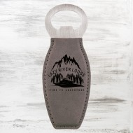 Gray Leatherette Bottle Opener with Magnet