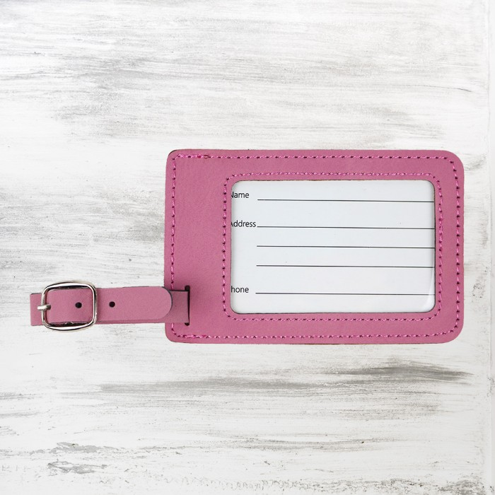 Pink Leatherette Luggage Tag