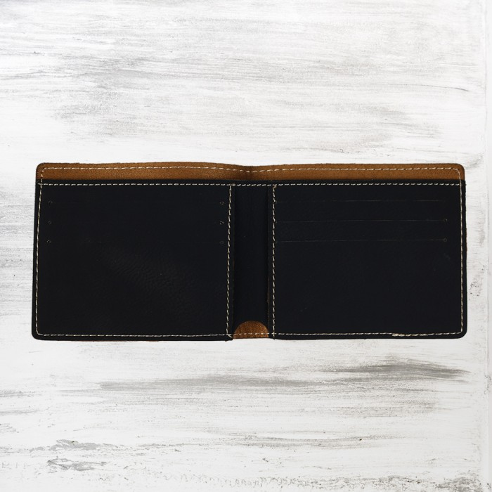 Black/Gold Leatherette Bifold Wa