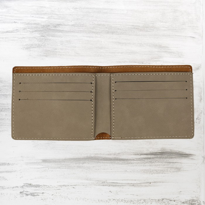 Light Brown Leatherette Bifold W