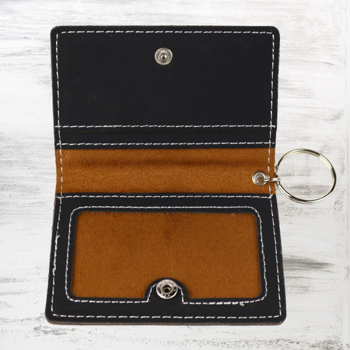 Black/Silver Leatherette Keychai