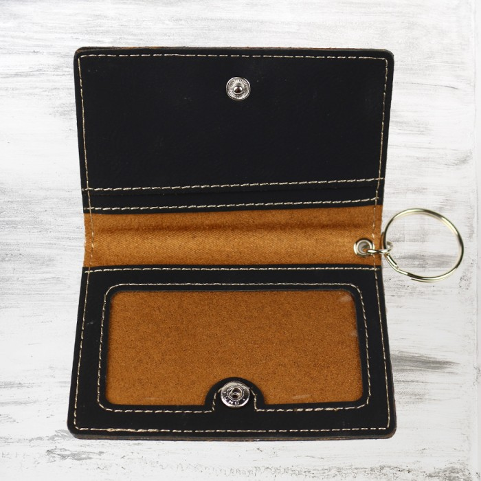 Black/Gold Leatherette Keychain