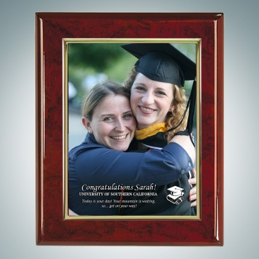 Sublimation Color Academic Gold Border Aluminum Plate on Glossy Horiz./Verti. Rosewood Plaque