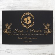 Black/Gold Leatherette Wall Decor Plaque