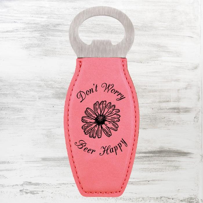 Pink Leatherette Bottle Opener w