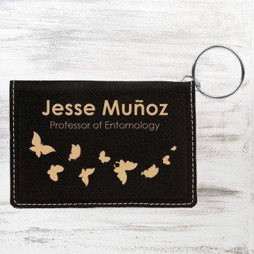 Black/Gold Leatherette Keychain ID Holder