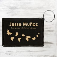 Black/Gold Leatherette Keychain ID Holder