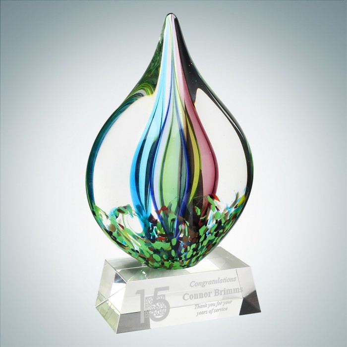 Art Glass Coral Award with Clear