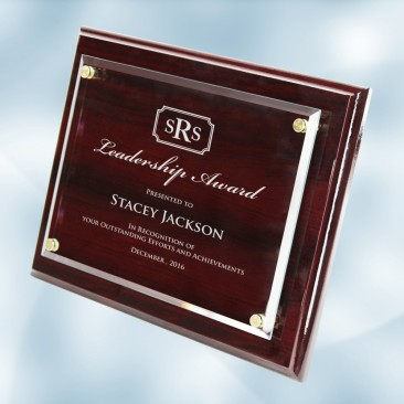 Floating Acrylic Plate on Glossy Horiz./Verti. Rosewood Plaque