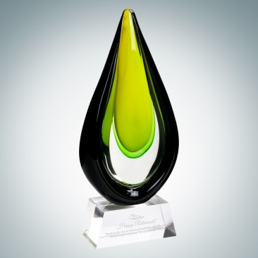Art Glass Goldfinch Award with Clear Base