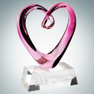 Art Glass Compassionate Heart Award with Clear Base
