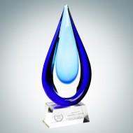 Art Glass Aquatic Award with Clear Base