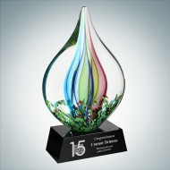 Art Glass Coral Award with Black Base