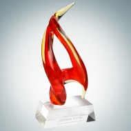 Art Glass Inferno Award with Clear Base