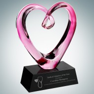 Art Glass Compassionate Heart Award with Black Base
